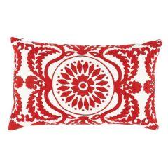 "SO7026122 CASTANET EMBROIDERY Schumacher Pillow-26"" x 15""-Red"