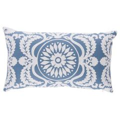 """SO7026222 CASTANET EMBROIDERY Schumacher Pillow-26"""" x 15""""-Chambray"""