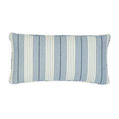 "SO7137018 AUDREY STRIPE Schumacher Pillow-24"" x 12""-Navy"