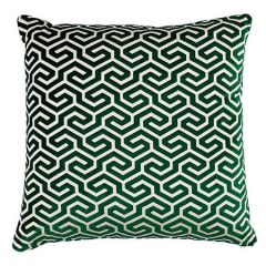 """MING FRET VELVET Schumacher Pillow-24"""" x 24""""-Emerald"""