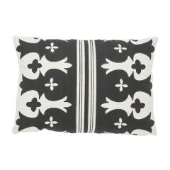 """SO7418115 BERGAMA Schumacher Pillow-20"""" x 14""""-Carbon and Ivory"""