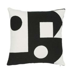"SO7569005 BINARY EMBROIDERY Schumacher Pillow-20"" x 20""-Black"