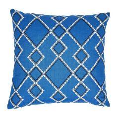 "SO7589105 BRANSON EMBROIDERY Schumacher Pillow-20"" x 20""-Blue"