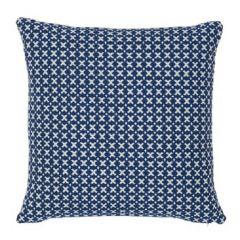 ELIAS Blue and Ivory Reversible Woven Schumacher Pillow