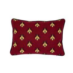 "SO7741011 BEE EPINGLE Schumacher Pillow-16"" x 11""-Red"