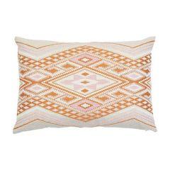 "SO7815120 BAYETA EMBROIDERY Schumacher Pillow-24"" x 16""-Pink and Orange"