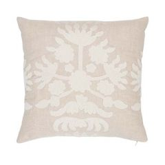 """SO7947204 CYBELE EMBROIDERY Schumacher Pillow-18"""" x 18""""-Natural"""