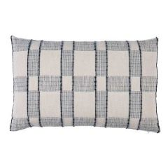 "SO8016017 ELKO PLAID Schumacher Pillow-22"" x 14""-Indigo"
