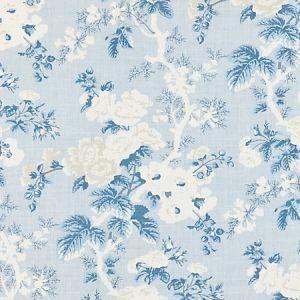 16602-002 ASCOT LINEN PRINT Sky Scalamandre Fabric