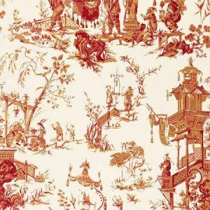 168276 CHINOIS Creme Red Schumacher Fabric