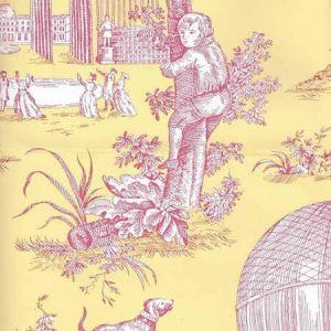 2232-207 BALLON DE GONESSE TOILE Fuschia Citron Quadrille Wallpaper