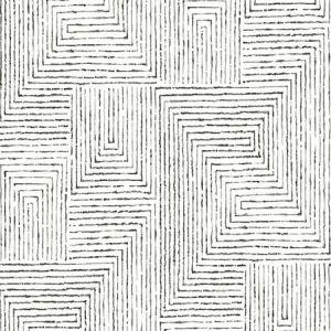 2964-25958 Merritt Geometric Black Brewster Wallpaper