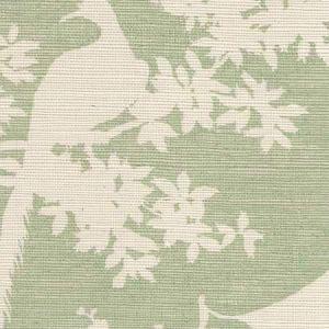 301980R-CELA PARADISE BACKGROUND Celadon On Beige Quadrille Wallpaper