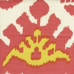 302830C-02 KAZAK Coral New Yellow Quadrille Fabric