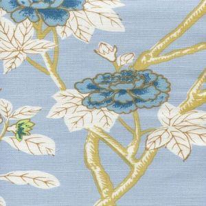 306061F HAPPY GARDEN Windsor Blue on White Quadrille Fabric