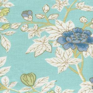 306062F HAPPY GARDEN Turquoise on White Quadrille Fabric
