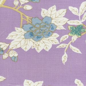 306064F HAPPY GARDEN Lavender on White Quadrille Fabric