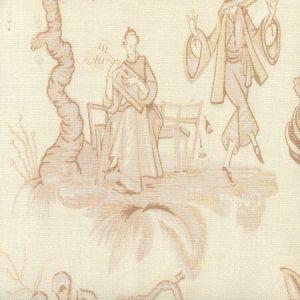 306150F DANSE CHINOIS Taupe Cream Beige Quadrille Fabric