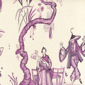 306151F DANSE CHINOIS Purple Lilac Lavender Quadrille Fabric