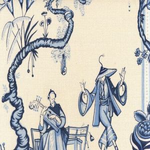 306154F DANSE CHINOIS Navy French Light Blue Quadrille Fabric