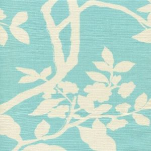 306182F HAPPY GARDEN BACKGROUND Turquoise on Tint Quadrille Fabric