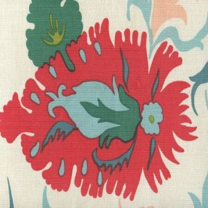 306224F UZBEK Multi Green Pink Blues Quadrille Fabric