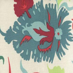306225F UZBEK Multi Red Teal Blues Quadrille Fabric