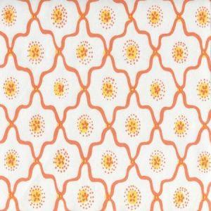 306320C-02CTT LONGFELLOW Orange Yellow on White Cotton Quadrille Fabric