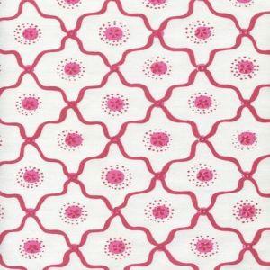 306320C-03CTT LONGFELLOW Strawberry on White Cotton Quadrille Fabric