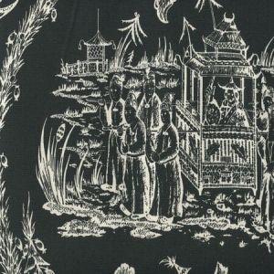 306359F ROYAL JOURNEY REVERSE II Black on Tint Quadrille Fabric
