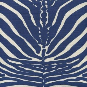 306370F-09 ZEBRE New Navy on Tinted Quadrille Fabric