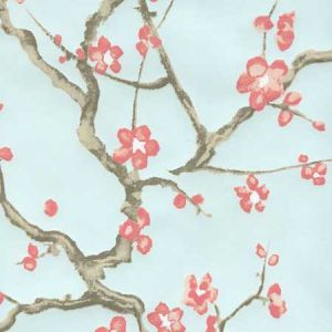 306500W-06WP CHERRY BRANCH Pale Blue Pink Taupe Brown Quadrille Wallpaper
