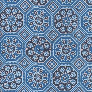 306600F-01 LORENZO ALL OVER Multi Agean Blue Black Quadrille Fabric