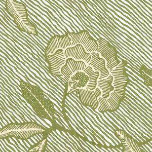 4060M-03WP FLORES II New Green Cream On White Quadrille Wallpaper