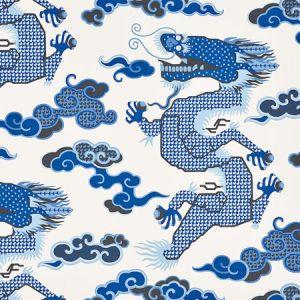 5010600 MAGICAL MING DRAGON Porcelain Schumacher Wallpaper