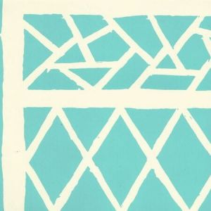 6025-07OWP TRELLIS BACKGROUND Turquoise On Off White Quadrille Wallpaper