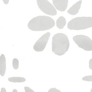 6380-14WP WILDFLOWERS II Gray On White Quadrille Wallpaper