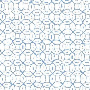 6450-01AWP MELONG BATIK French Blue On Almost White Quadrille Wallpaper