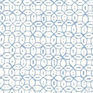 6450-01WWP MELONG BATIK French Blue On White Quadrille Wallpaper