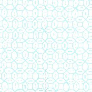 6450-12WP MELONG BATIK Turquoise On White Quadrille Wallpaper