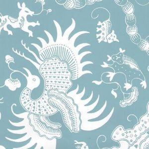 653-21 INDRAMAYU REVERSE Bali Blue On White Matte Vinyl Quadrille Wallpaper