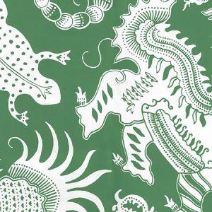 653-220 INDRAMAYU REVERSE Grassy Green On White Matte Vinyl Quadrille Wallpaper