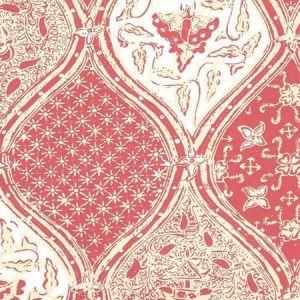 6630-07WP BALINESE BATIK Shrimp Cream On White Quadrille Wallpaper