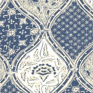 6630-08WP BALINESE BATIK Navy Cream On White Quadrille Wallpaper