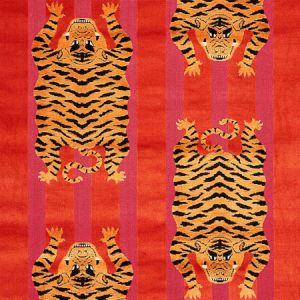 77231 JOKHANG TIGER VELVET Red Pink Schumacher Fabric