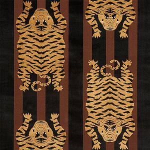 77232 JOKHANG TIGER VELVET Brown Black Schumacher Fabric