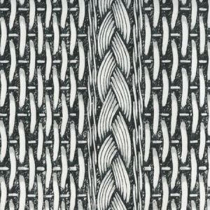 8400-01W NEWPORT RATTAN Black Gray on White Quadrille Fabric