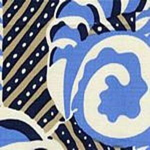 AC100-12 FERNS Blues Beige on Tint Quadrille Fabric
