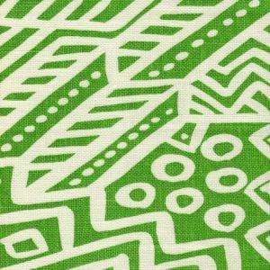 AC304O-22 LITTLE MARGIE ON OSCAR Jungle Green on Ivory Quadrille Fabric