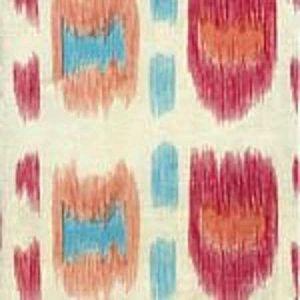 AC704-07CU CINTRA Multi Rose Turquoise on Tint Quadrille Fabric